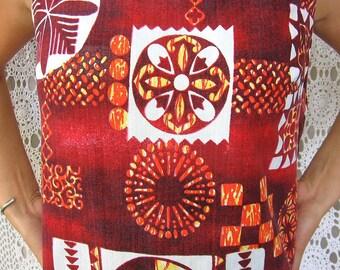 70s HAWAIIAN Faux BARKCLOTH Mini Dress -- small 1970s vintage dress Orange brown Tiki ethnic print resort style summer dress