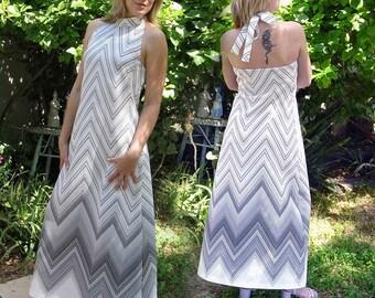Psychedelic Zig Zag 1960s Maxi dress - vintage Halter dress - S to M - black & white chevron striped dress women boho Op art Chevron Dress