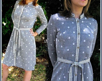 Vintage 1960s Scooter Dress  gray stripes & polka dots  fashion knit dress Vintage Coat Dress MEDIUM Office Fashion
