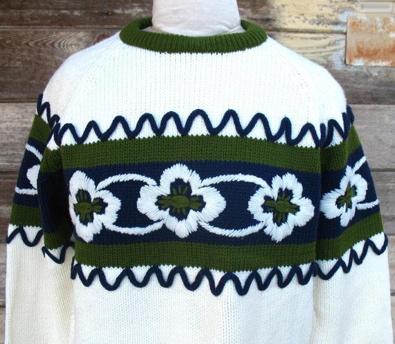 1960s Mid Century vintage Ski  SWEATER - vintage 1960s sweater womens  Mad Men Fashion Avocado, Navy, Cream  - zipper neck
