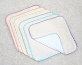 Two-Ply Organic Bamboo Stretch French Terry/Bamboo Velour Reusable Cloth Wipes (plain pack of 6)