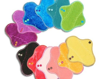 "Petite 8"" Organic Wool-Backed Moonbow Cloth Pad (x 1), You Choose Color"