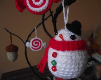 Pattern- Crocheted Snowman, Acorn and Candy ornament set PATTERN ONLY