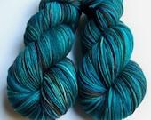 Hand Painted Ultra Merino Superwash Sock Yarn -- Blue Agate Beauty (Dark Batch)