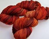 WINTER SALE 20 Percent Off -- Hand Painted Superwash Merino Worsted -- Autumn Blaze