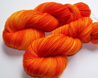 Hand Painted Ultra Merino Superwash Sock Yarn -- Psychotic Pumpkin