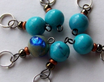 Hand Made Stitch Markers -- Vintage Italian Lucite and Art Glass (1950's)