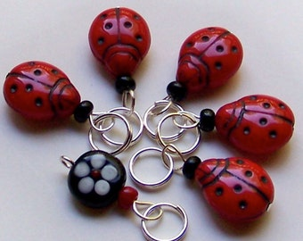 Hand Made Stitch Markers -- Five Ladybugs and a Flower