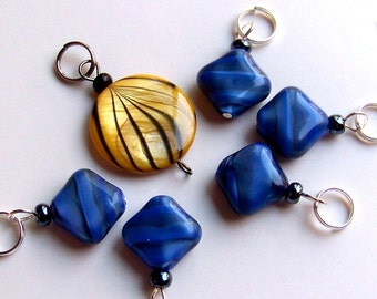 Hand Made Stitch Markers -- Butterfly and Blue
