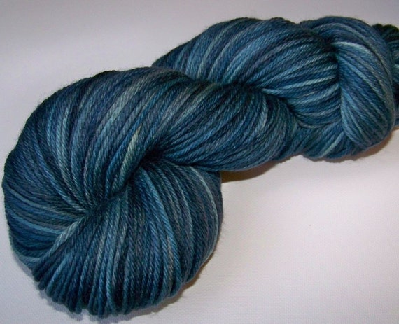 DISCOUNT 20 PERCENT OFF -- Hand Painted Lux Merino Superwash DK -- Blue Jeans Friday