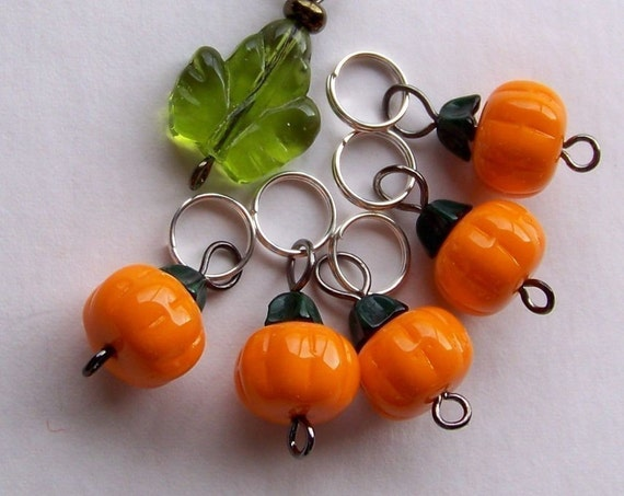 Hand Made Stitch Markers -- All-Season Pumpkins