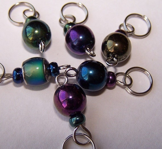 Hand Made Stitch Markers -- In The MOOD (Yes a mood-marker)
