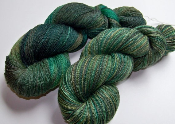 DISCOUNT 20% Off -- Hand Painted Merino and Silk Lace Weight -- Forest Dweller (100g-1312yds)