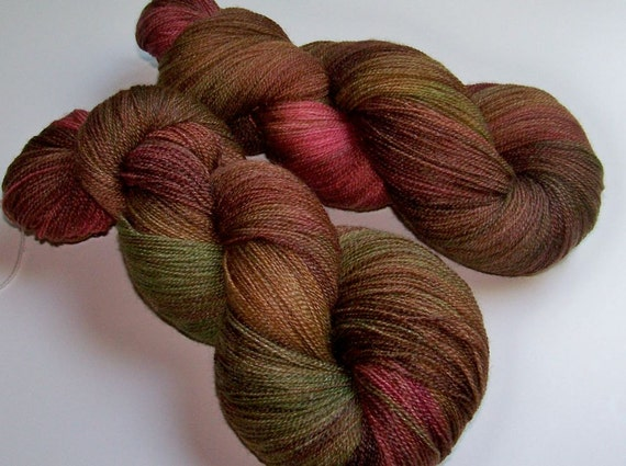 Handpainted Superwash Merino and Bamboo Lace Weight -- Cafe Autumn (100g/875yds)