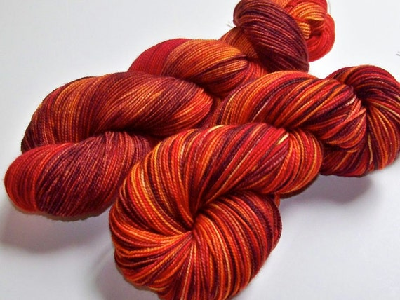 Hand Painted 2-Ply Superwash Merino and Nylon Sock/Fingering -- Autumn Blaze
