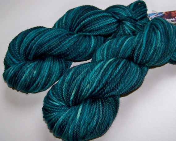 DISCOUNT 20% Off -- Hand Dyed Falkland Bulky Yarn -- Spruced (100g/110yds)
