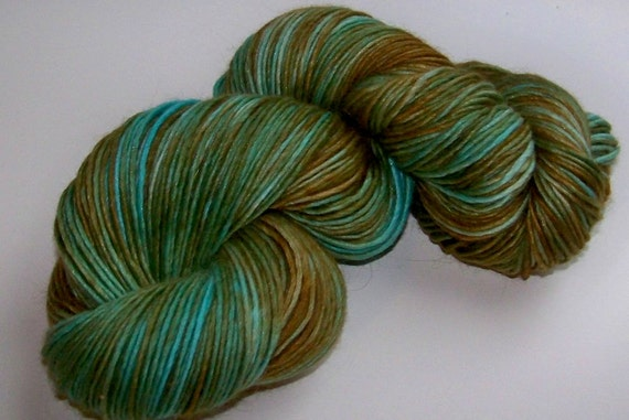 Hand Painted Lux Alpaca/Wool/Silk Single Spun DK - Turquoise and Earth