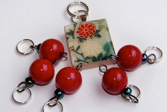 Special Stitch Marker Set -- Scrabble Tile plus Markers -- Poppy Red and Flowers