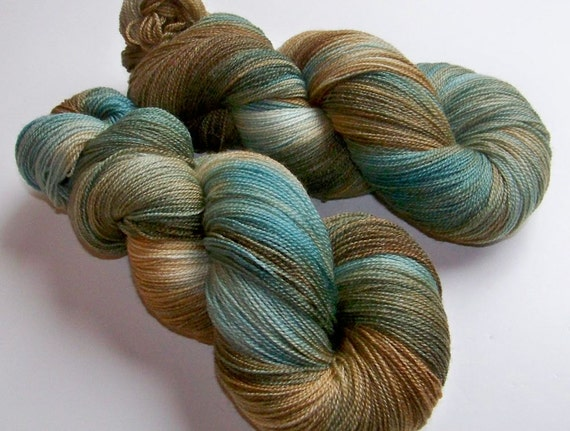 Handpainted Superwash Merino and Bamboo Lace Weight -- Sand and Sea Glass (100g/875yds)