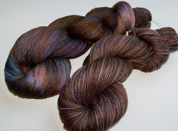SPRING SALE 30 Percent Off -- Hand Dyed Luxury Lace Weight (Alpaca,Silk,Cashmere) -- Chocolate Covered Berries (100g/1312yds)