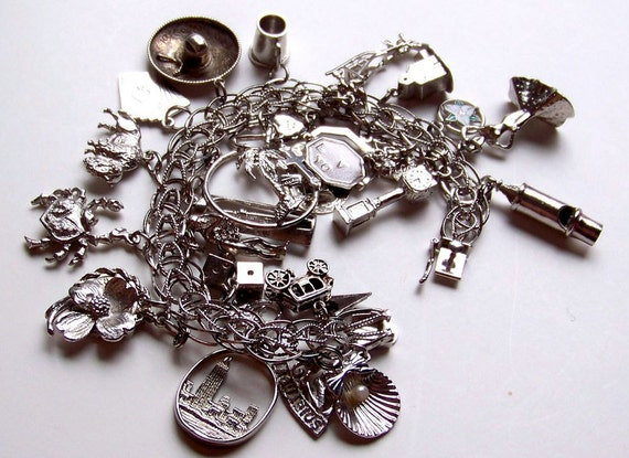 RESERVED for Stacey -- SJK Vintage -- Sterling Silver Charm Bracelet with 27 Charms -- The Traveler's Lucky Bracelet