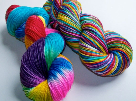 Hand Painted Superwash BFL/Nylon 2-Ply Sock/Fingering -- Let's Blow This Popsicle Stand