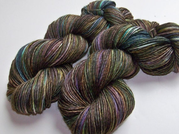 DISCOUNT 20% Off -- Hand Painted Lux Alpaca/Wool/Silk Single Spun DK - Oil Slick (Batch-B)