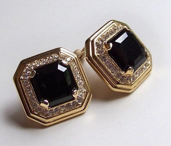 SJK VINTAGE -- Oscar de la Renta Signed Black Gold and Rhinestone Clip On Earrings (1980's)