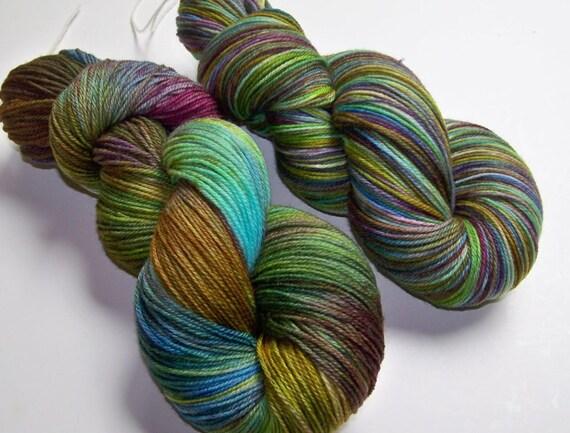 Hand Painted Ultra Merino Superwash Sock Yarn -- Tropical Fish