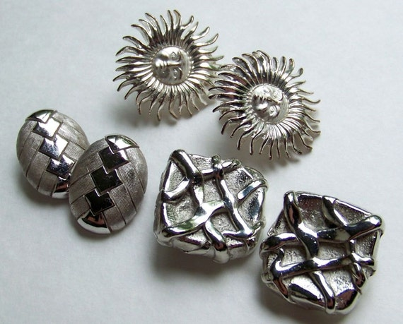 SJK VINTAGE -- Three Pairs of Silver Tone Earrings, Abstract, Square, Oval, Suns with Faces (1970's-1980's)