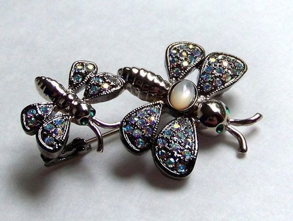 SJK VINTAGE -- Butler Signed Big and Little Dragonfly, Insect, Bee Rhinestone Brooch (1980's)