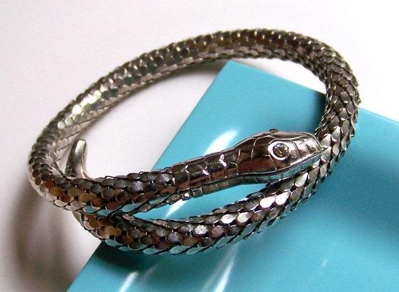 SJK VINTAGE -- Silver Tone Mesh Snake Bracelet -- Egypt Revival (1970's)