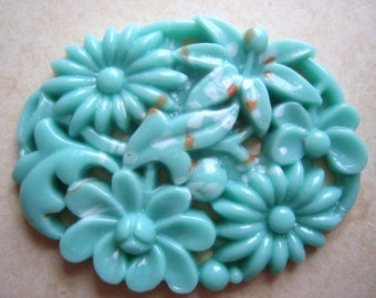 vintage Japanese cab (1) large  1940s turquoise glass pierced carved stone