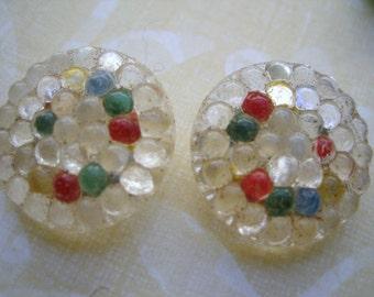 Vintage buttons (2) glass Czech buttons antique bubbly clear multicolor cab shank 18mm  (2)