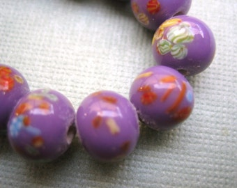 Vintage Millefiori beads (10) Japanese opaque glass orchid purple  lavender lilac millifiore handmade beads 8mm (10)