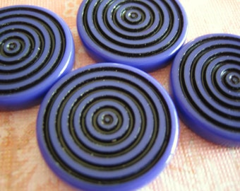 VIntage lucite deep purple violet swirl bullseye focal beads - lot of 4