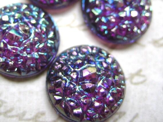 4 vintage sugar stones glass amethyst iridescent AB bumpy West German 14mm 60ss rhinestones round lot of 4