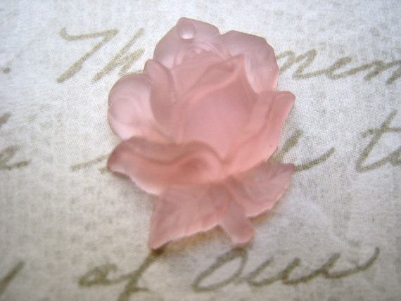 2 Vintage glass pendant drop charm crystal pink frosted rose