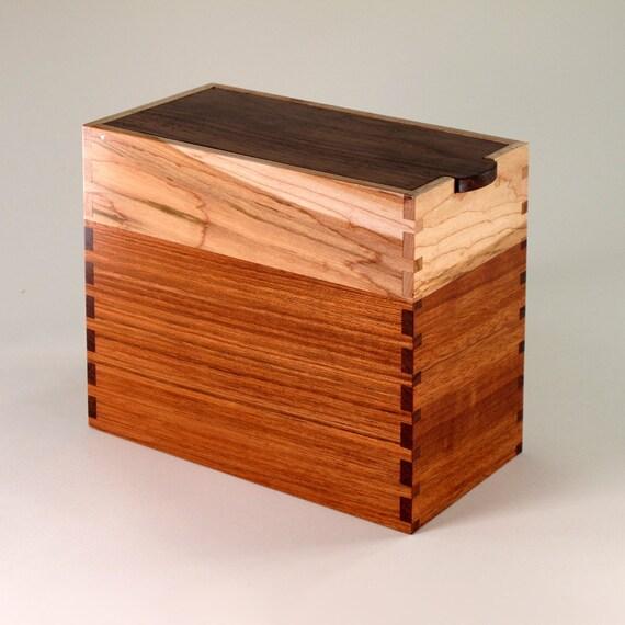 Keepsake Box of Walnut, Teak, and Maple