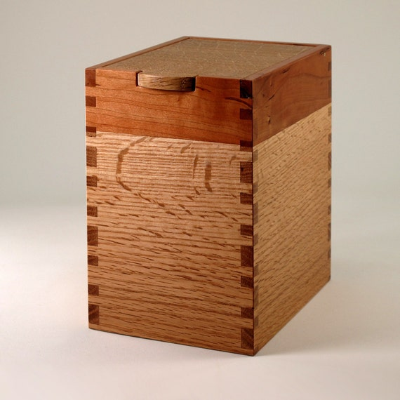 Wooden Box of Oak and Mahogany for Storage or Keepsakes