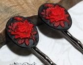 Phedres Marque Red and Black Rose Hair Pins