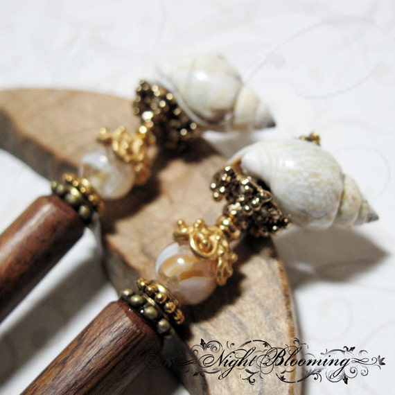 Luteys Love Mermaid Shell and Pearl Hair Sticks