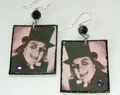 Horror Movie Earrings Lon Chaney London After Midnight Master of Horror Decoupage Art