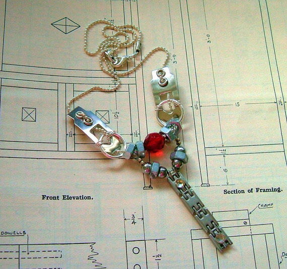 Brainworks Hardware Industrial Necklace Assemblage Unisex Found Object ooak