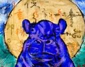 Sacred Blue Hippo Original Finger Painting