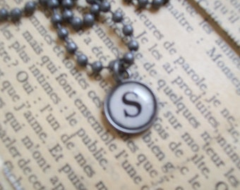 S Initial Pendant Faux Typewriter Key with Ball Chain Necklace