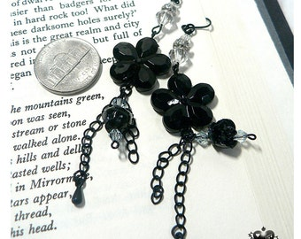 SALE - 70% OFF Elegant Black Gothic Rose and Camelia Dangle Earrings