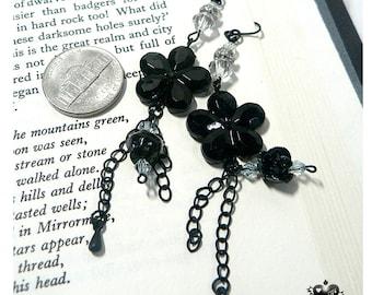SALE - 30% OFF Elegant Black Gothic Rose and Camelia Dangle Earrings