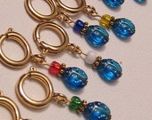 Blue Lady Bug Stitch Markers - Set of 8
