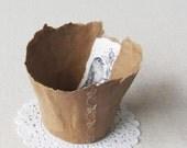 Handmade Paper Bowl with Bird- papier mache handmade bowl for organization and home decor